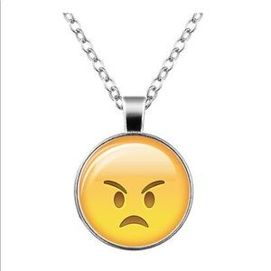 Jewelry - Angry 😠 Emoji Glass & Silver Necklace